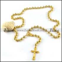 Yellow Gold Stainless Steel Rosary Necklace -n000028