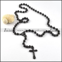 Black Stainless Steel Rosary Necklace -n000029