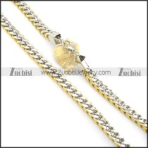 10mm wide gold and silver stainless steel necklace chain n000520