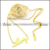 yellow gold-plating LUCKY pendant necklaces n000463