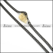 8mm black plated flat chain necklace n000510