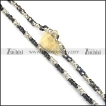 8mm silver and black 8 chain necklace n000517