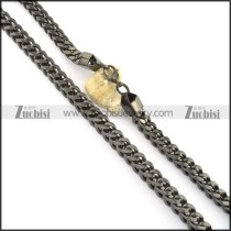 10mm wide black plated square chain necklace n000509