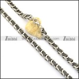 8mm black and steel plating necklace n000668