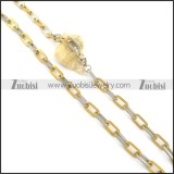 8mm gold and silver link chain necklace n000533