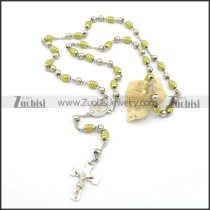 Wholesale Green Rosary Necklace with Jesus Cross n000710
