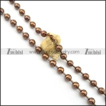 10mm ball chain necklace in brown plating n000699