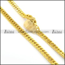 600mm long 11.5mm wide yellow gold plating necklace n000664