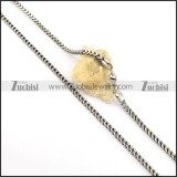 3mm wide square necklace in vintage style n000657