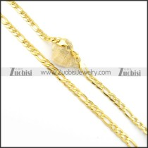 8mm Gold Plating Figaro Chain Necklace n000563