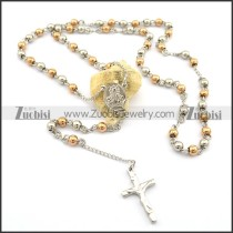 68cm long rosary necklace with jesus cross with rose gold beads n000726