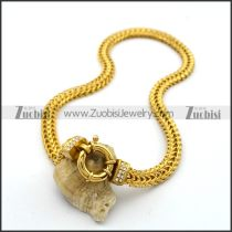 Yellow Gold Stainless Steel Square Snake Chain Necklace n001020