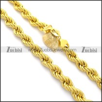 1.6cm Wide Yellow Gold Stainless Steel Wire Link Necklace n000960