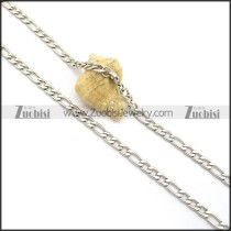 6mm Wide Figaro Chain in Stainless Steel n001006