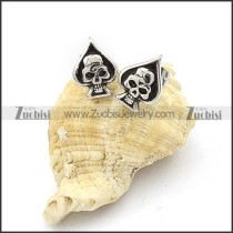 Heart Shaped Stainless Steel Skull Earring - e000066