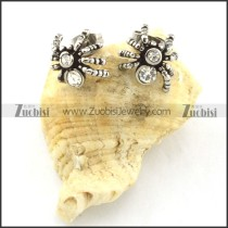 Clear Rhinestone Spider Earring in Stainless Steel -e000412
