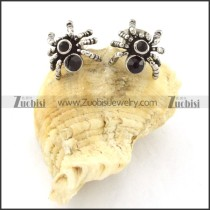 Spider Earring in Stainless Steel with Black Rhinestone -e000413