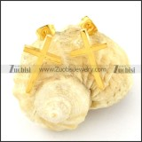 high quality gold oxidation-resisting steel cross Cutting Earrings for Women - e000359