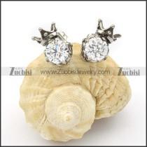 Stainless Steel Zircon Crown Earring - e000076