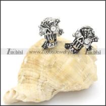 Stainless Steel Clear Zircon Skull Earrings -e000103