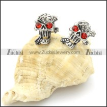 Stainless Steel Red Zircon Skull Earrings -e000104