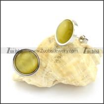 attractive Steel Cat Eye Stone Earring -e000523
