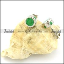 Green Stone Earring in Stainless Steel Metal -e000555