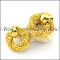 yellow gold plating net chain earring e000875