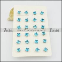 light blue square zircon post earring e000886