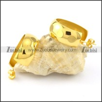 yellow gold smooth stainless steel earring e000786