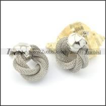 silver unique net chain earring e000775