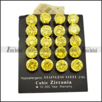 10mm clear yellow round zircon wedding stud earrings -e000633