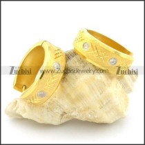 yellow gold stainless steel cutting stone earring e000759