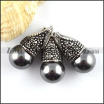 Vintage Stainless Steel jewelry set with Gray Pearl -s000139