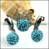 Stainless Steel jewelry set with Clear Blue Rhinestone Ball -s000082