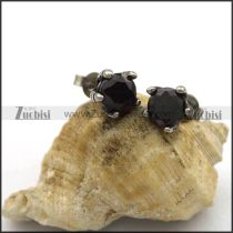 Black Facted Stone Stud Earrings e001051