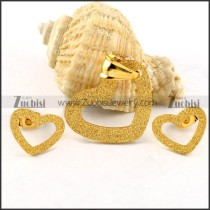 Gold Blasting Heart Stainless Steel jewelry set-s000090