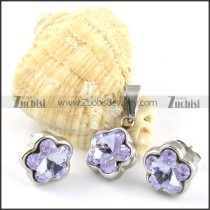 Clear Purple Crystal Flower Stainless Steel Jewelry Set -s000101