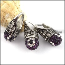 Antique Stainless Steel jewelry set with Purple Rhinestone Ball -s000141
