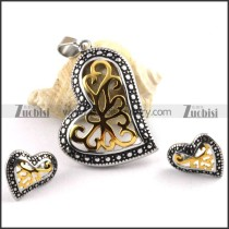 Vintage Heart Stainless Steel jewelry set-s000049