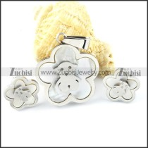Silver Shell Bear Stainless Steel jewelry set-s000150