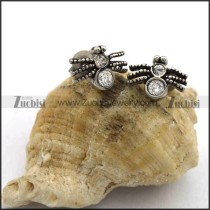 Small Spider Earring for Girls with Clear Rhinestones e001048