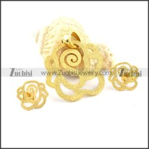 Gold Sand Rose Stainless Steel jewelry set-s000063
