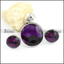 Silver Stainless Steel jewelry set with Purple Round Faceted Stone -s000067