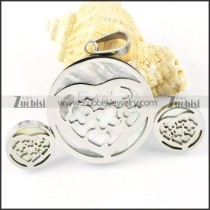 Silver Shell Heart Stainless Steel jewelry set-s000159