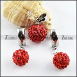 Stainless Steel jewelry set with Red Crystal Ball -s000081