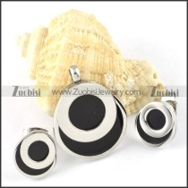 Silver Round Stainless Steel jewelry set with black stone -s000133