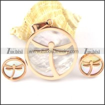 Rose Gold Dragon Stainless Steel jewelry set-s000147