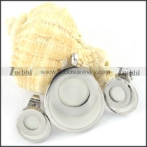 Silver Round Stainless Steel jewelry set with white stone -s000132