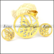 Yellow Gold Shell Butterfly Stainless Steel jewelry set-s000156
